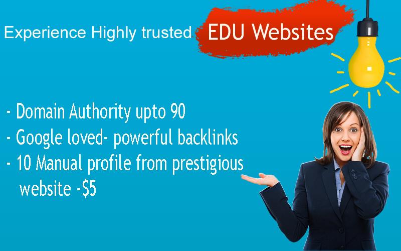 EDU Profiles- Manually built- prestigious websites - DA upto 90