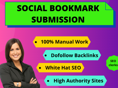 I will do 50+ social bookmarking on high da PR sites manually