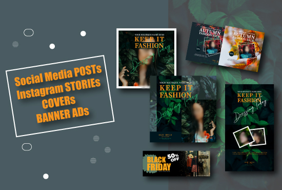 I will create eye catchy social media post,  cover,  story template design.
