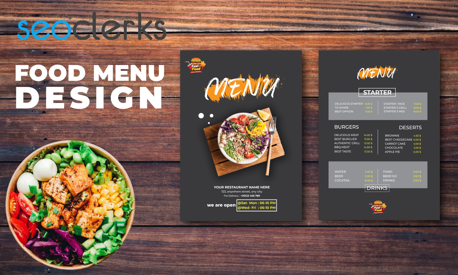 I will design food and restaurant menu post flyer and poster
