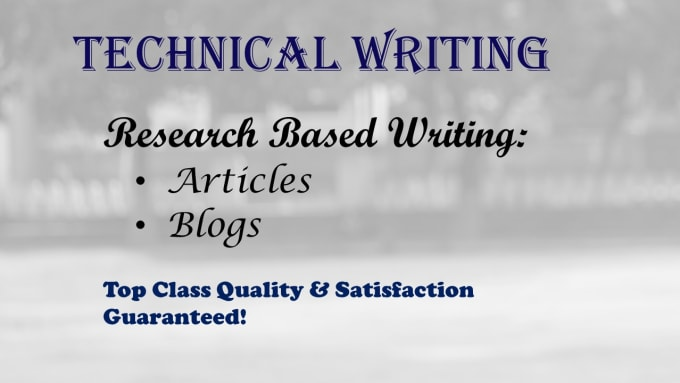 I will do technical article and blog writing