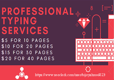 I will do professional PDF to word,  typing job,  data entry work
