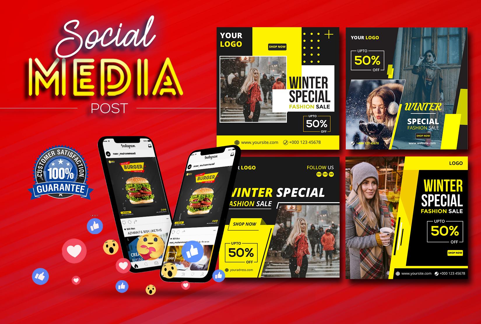 I will design 4 social media posts,  banner for Facebook,  Instagram