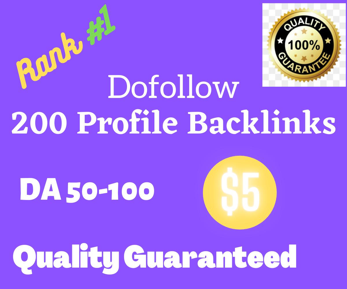 Create 200 High DA Profile Backlinks Manually for SEO Ranking
