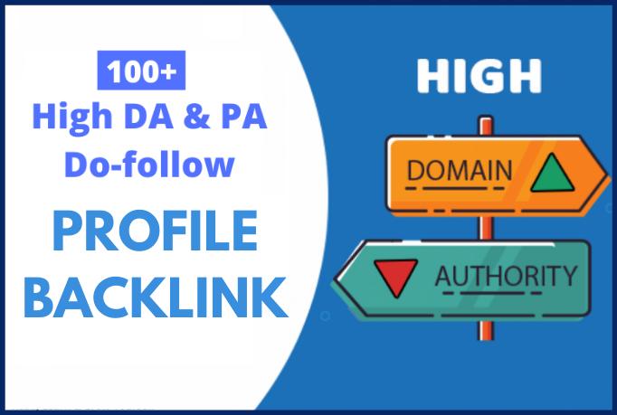 I will create 100 profile backlinks from high DA sites