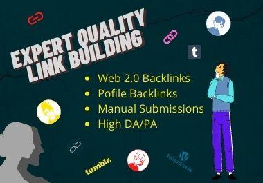 I will create 20 high DA/PA manual Web 2 0 Backlinks