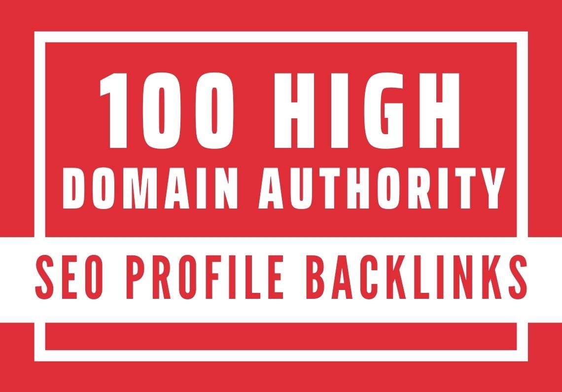I will do 100 high domain authority SEO profile backlinks