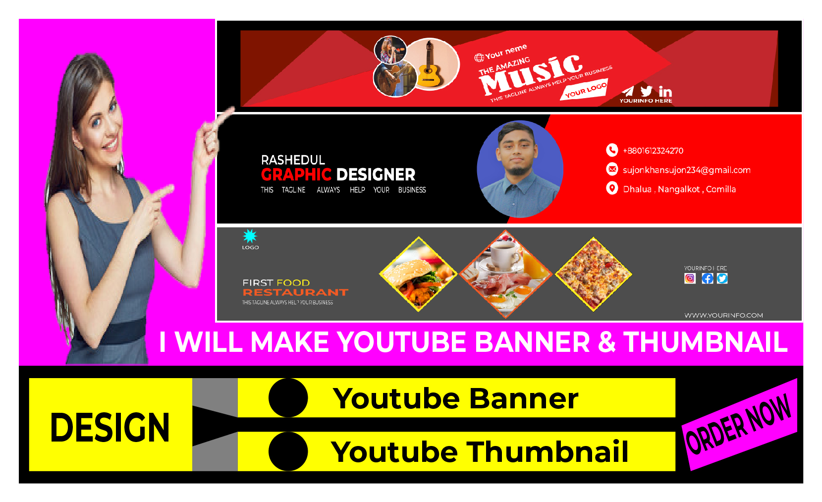 I will make stylish YouTube banner and Thumbnail