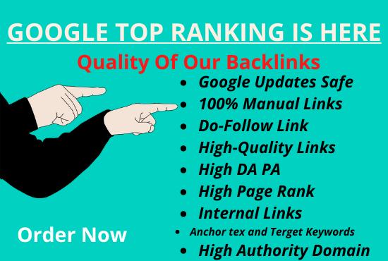 I will do white hat SEO backlinks in google top ranking