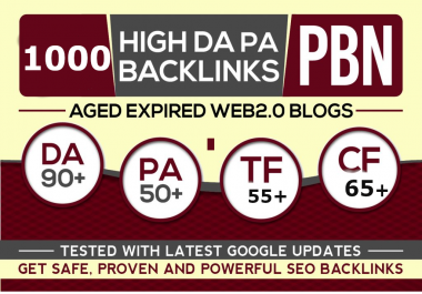 Get Extreme 1000+PBN Backlink in your website hompage HIGH DA/PA/TF/CF with unique website