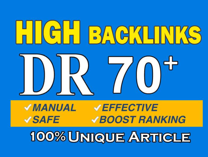 I will create DR 50 to 70 strong backlinks for off page seo