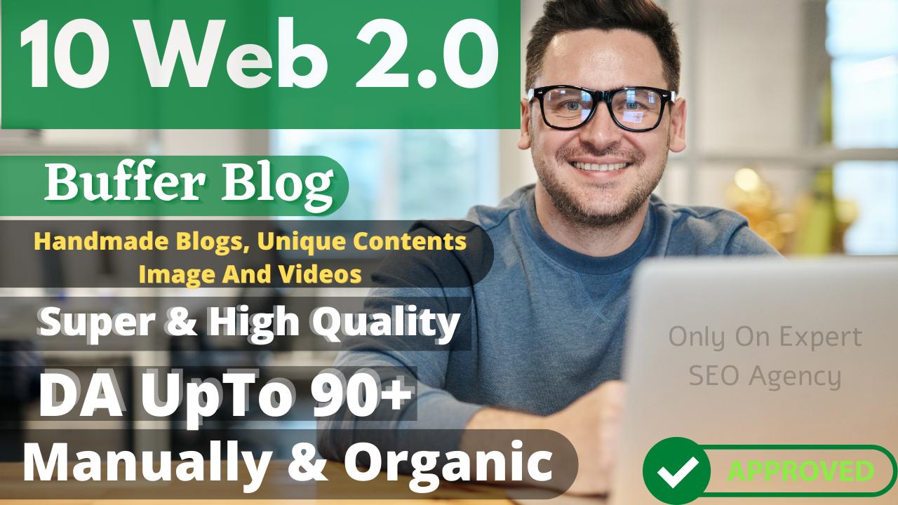 Manually And Handmade 10 Web 2.0 Blog high authority contextual backlinks for rank