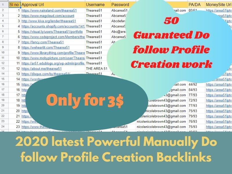 I will do 50 High Quality Profile Creation Backlink with High DA/TA