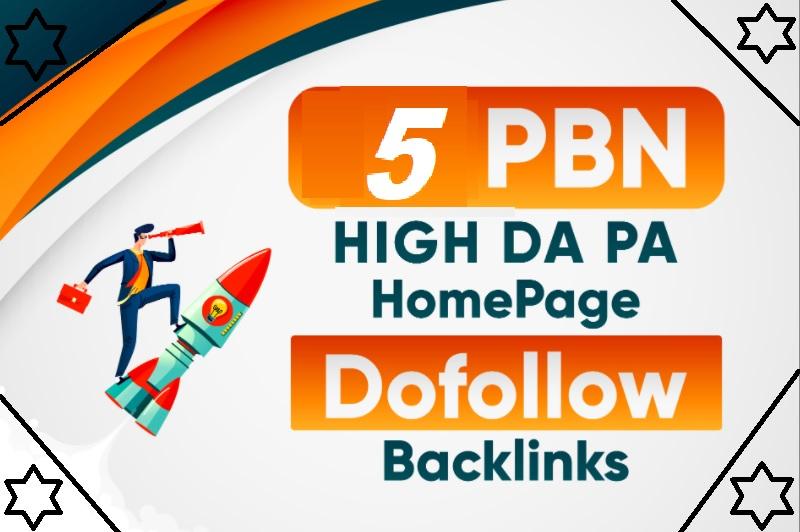 Build 5 High DA PA Homepage PBN Permanent Dofollow Backlinks
