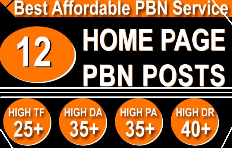 Homepage 12 PBN High 20 Plus DA/PA/CF/TF Authority powerefull Backlinks