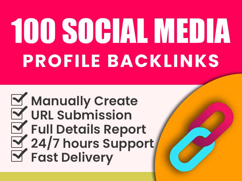 I will do HQ 100 social media profiles backlinks for SEO ranking
