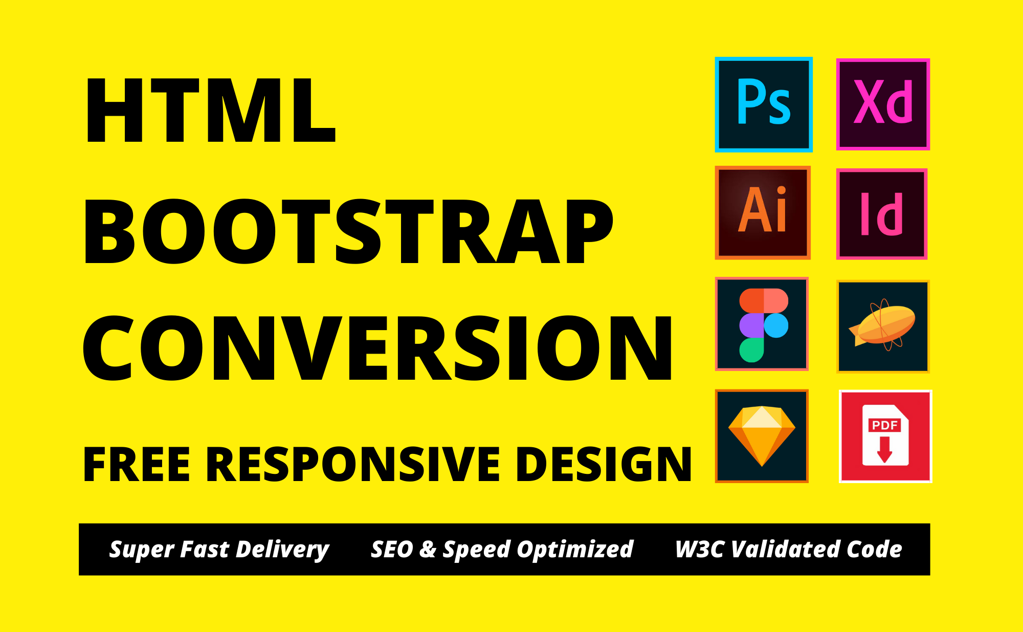 Convert psd to html,  xd to html,  figma to html,  sketch to html css responsive bootstrap