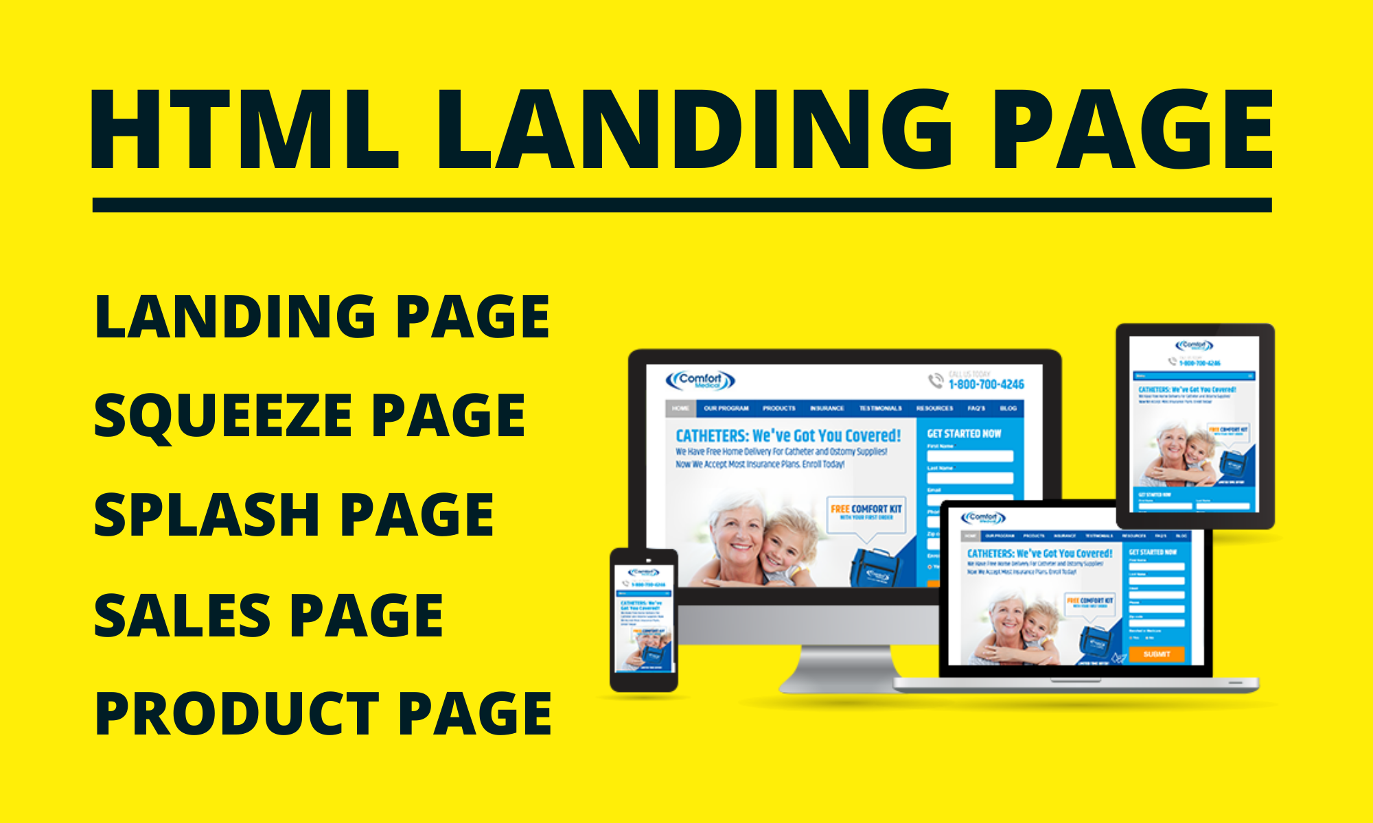 Responsive html landing page design,  squeeze page,  sales page,  product page,  splash page design