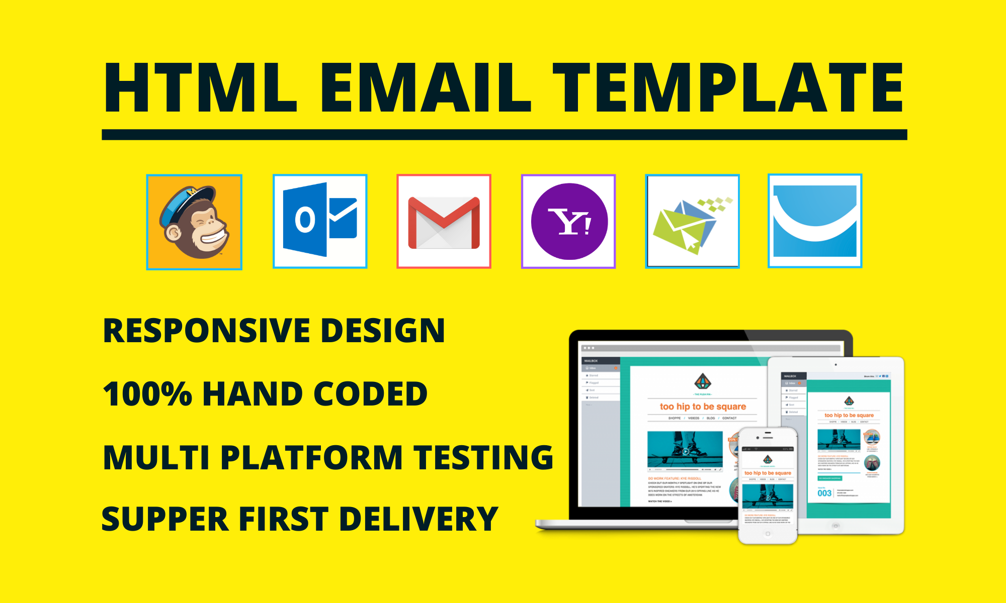 Responsive HTML email template design, clickable HTML email signature & newsletter for your business