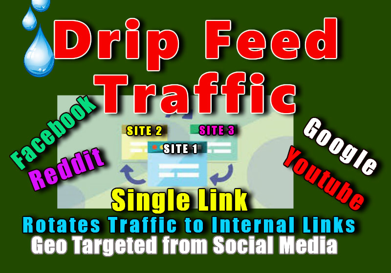 DRIP FEED geo targeted USA traffic for 1 month from social media backlinks service