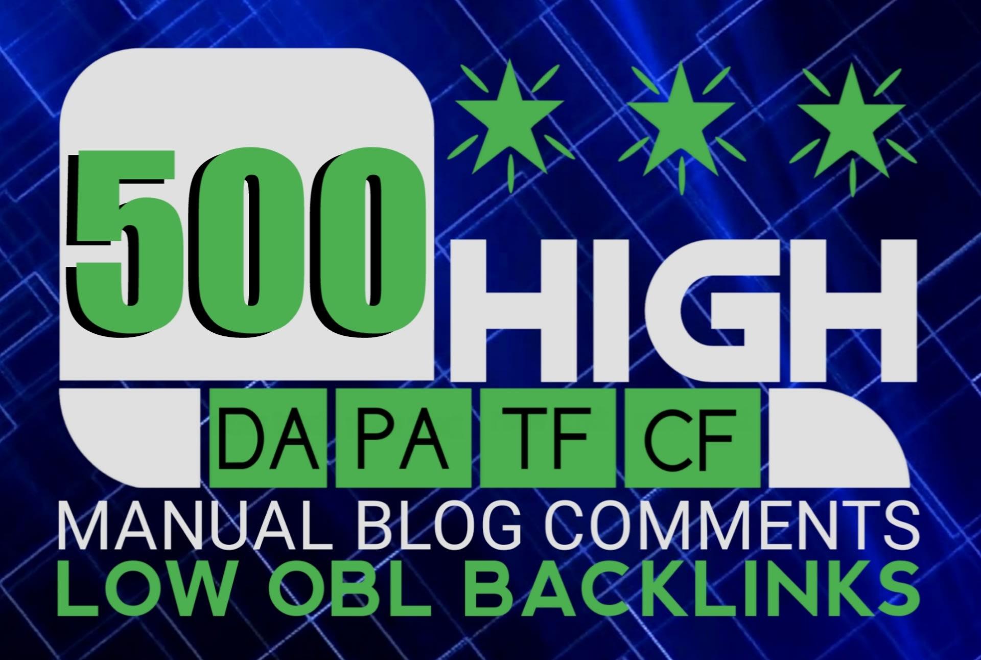 500 unique domain blog comments with high da pa