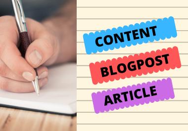 I will Write 1500 words Unique Content,  Blogpost & Article