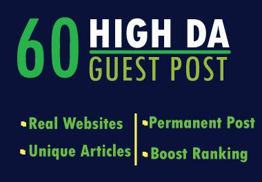 Write And Publish Guest Post On 60 Websites High DA backlink