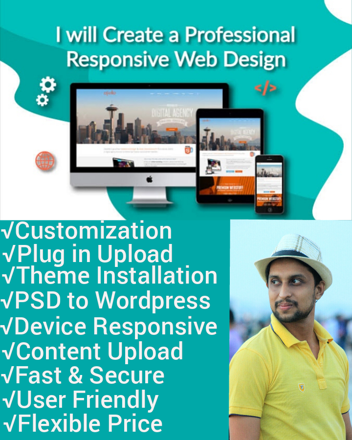 I will create, design and redesign modern responsive wordpress Ecommerce or blog site and fix it