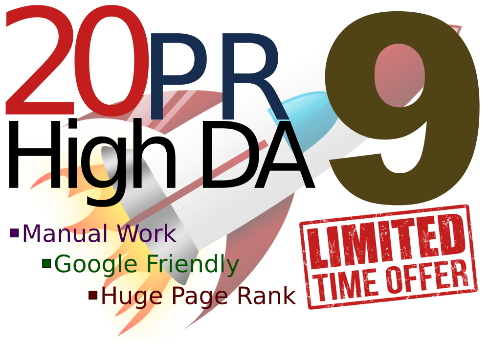 Manually 20 Backlinks DA90+ Dofollow High Authority SEO Profile Backlinks- Fire Your Google Rankin