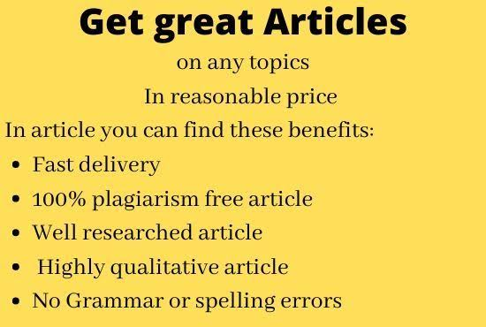 I write 1000 words article that's seo optimized and a quality one for your businesses and blogs site