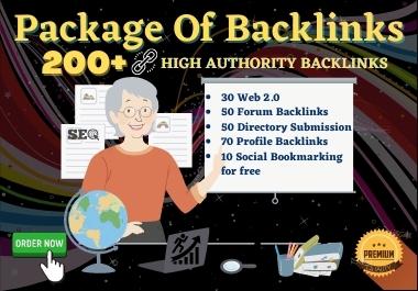 A Package of Manual High DA/PA Dofollow 200+ Web2.0,  Profile,  Directory,  Forum Backlinks.