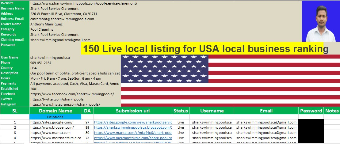 I will 150 local listing for USA local business ranking