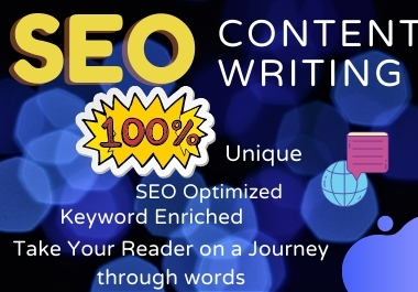 I will do professional SEO friendly Content Writing, Blog Writing,  Article Writing