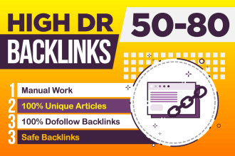 I will manually create high DR 50-80 quality dofollow backlinks for seo service