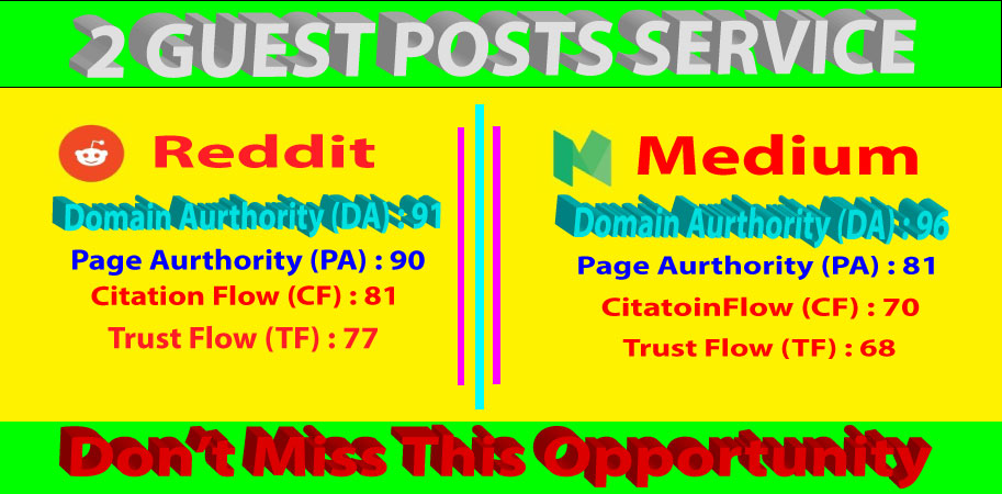 I will write and publish 2 guest posts On Medium & Reddit with High DA/PA sites parmanent backlinks