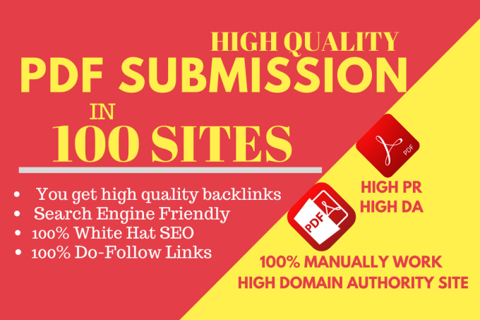 I will do pdf submission SEO backlinks with best 100 sites