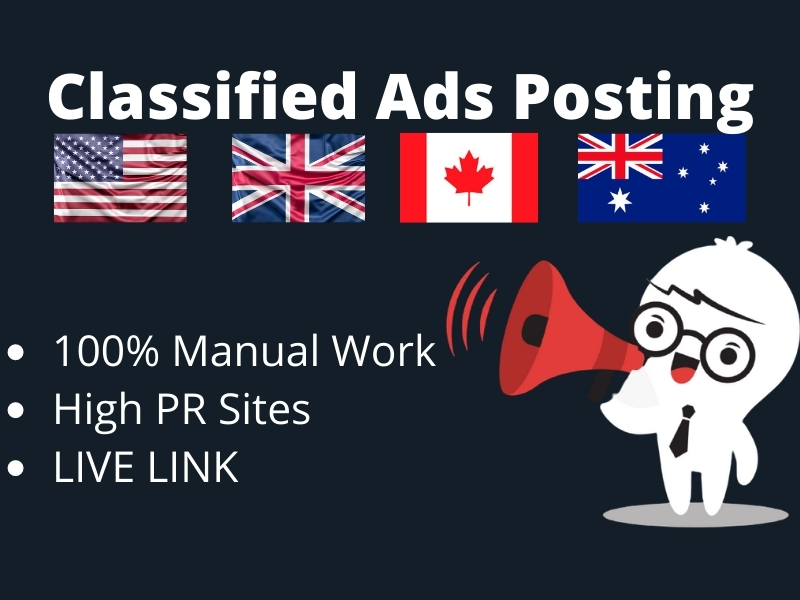 I will post your ads to top 80 classified ad posting sites