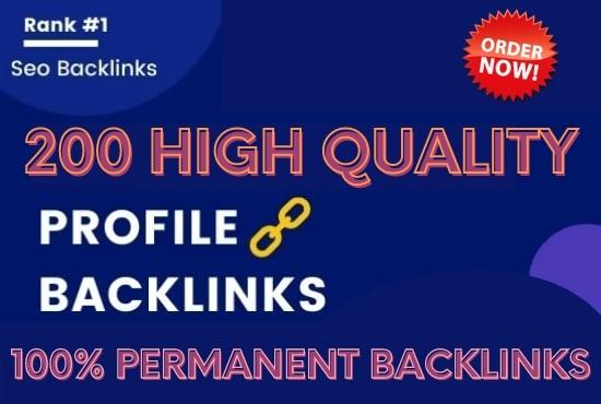 I will make 200 high domain authority SEO profile backlinks