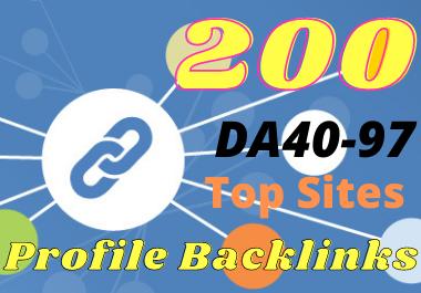 Provide 200 high domain authority profile backlinks