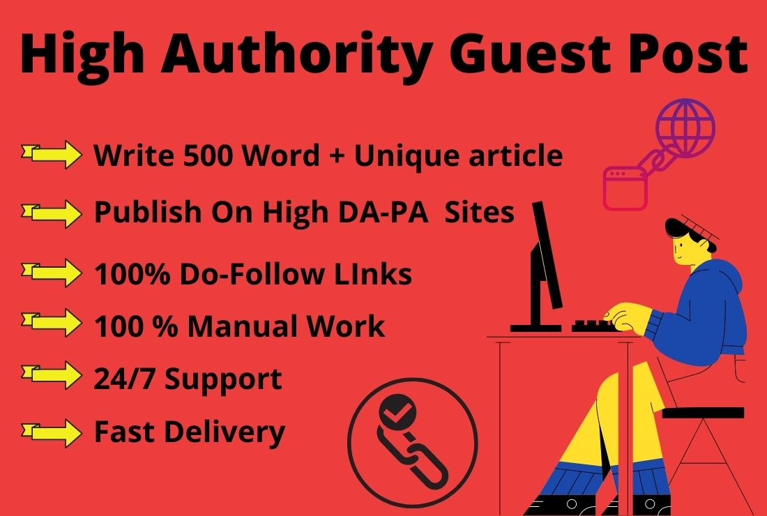 Write And Publish 5X Niche Relevant Guest Post On High Authority Website