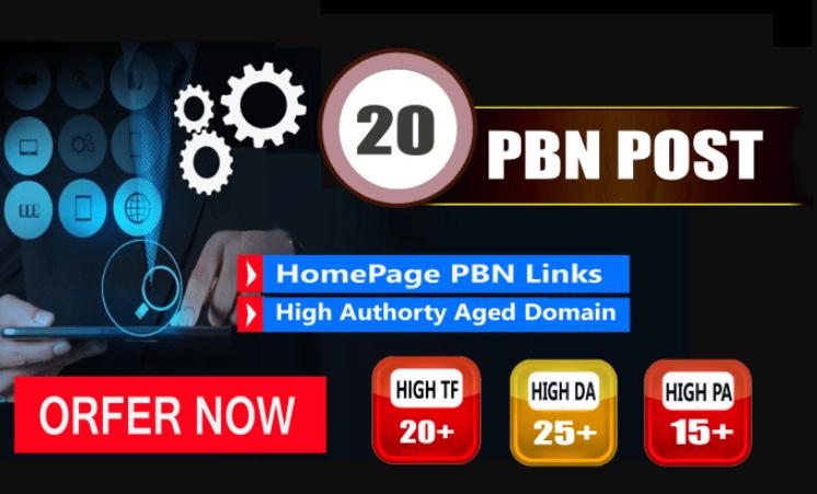 I will do 20 permanent pbns links DA 20+ high quality