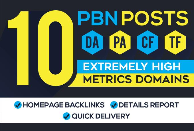 I will provide 10 high da pa permanent homepage pbn backlinks