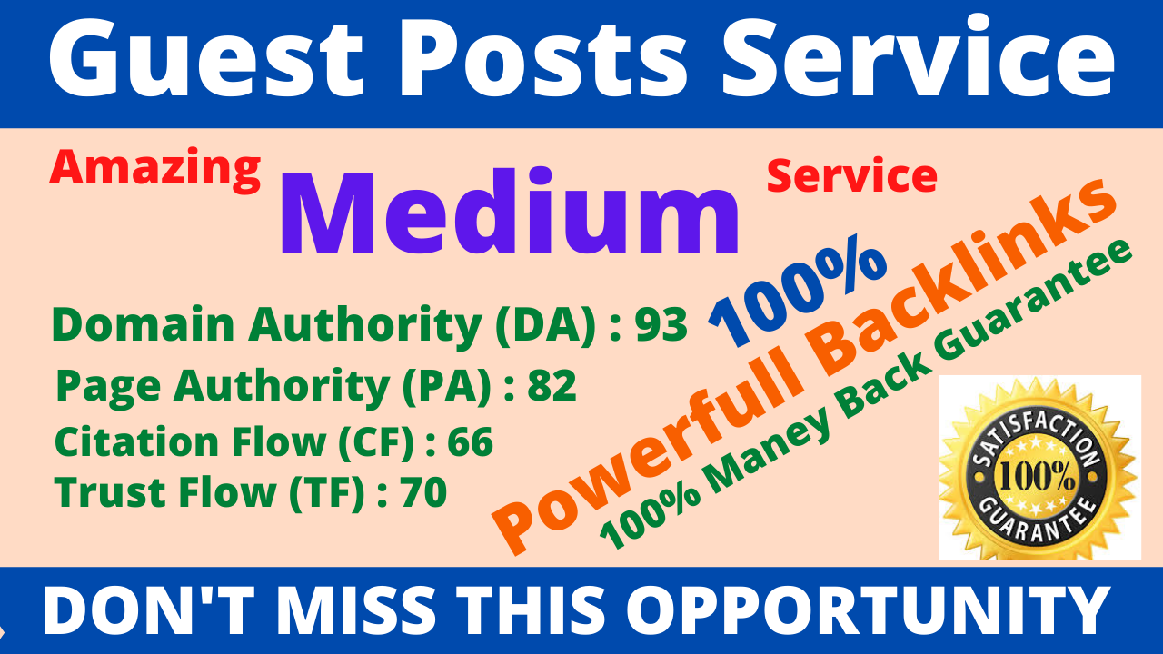 I Will Write And it Publish A Guest Post On Medium DA 95,  PA 80 With Google Indexing Free