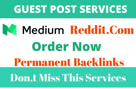 DA92 + Publish 2 Guest Post On Medium and Reddit