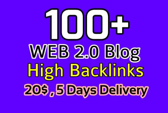 I will create high quality 100 web 2 0 blog backlink for high rank