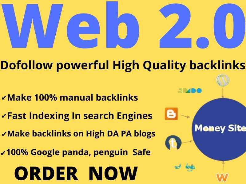 I will create Dofollow 5 HQ WEB 2.0 Backlinks within 24 hours