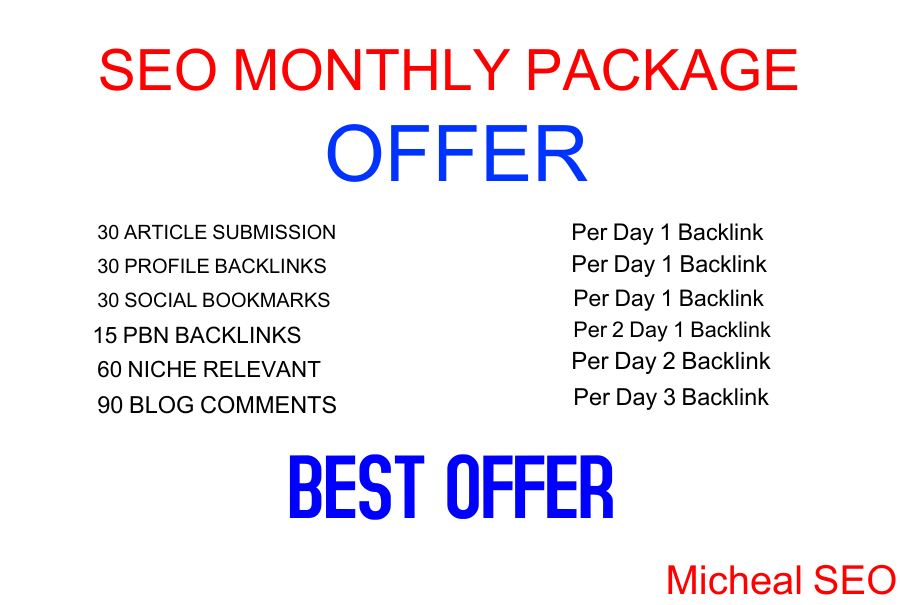 I will provide you monthly SEO backlinks package