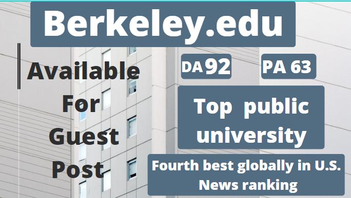 Publish a guest post Berkeley. edu,  DA92