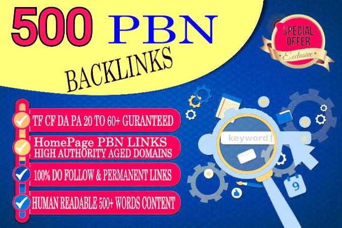 Get permanent PBN 500 Unique Sites DA 45+ PA 40+ PR 6+ Web 2.0 homepage unique site