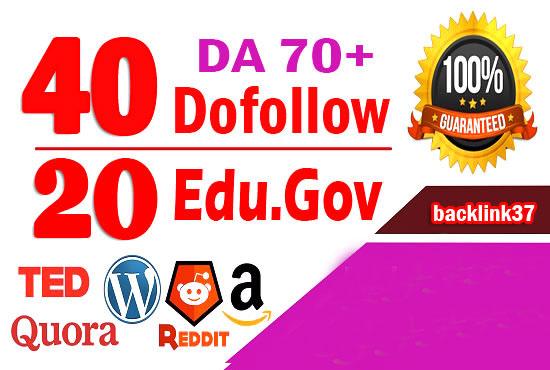 Do website ranking with 60 pr9 high authority do follow backlinks,  link building